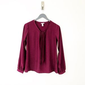 DOWNEAST Maroon Silky Longsleeve Career Blouse